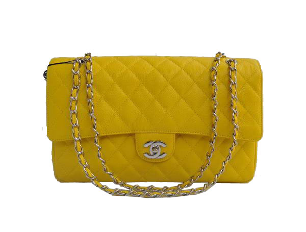 High Quality Knockoff Chanel 2.55 Series Flap Bag 1113 Yellow Leather Silver Hardware