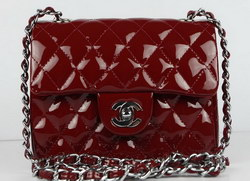 High Quality Knockoff Chanel 2.55 Series Flap Bag Maroon Patent Leather with Silver Chain