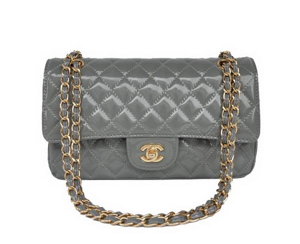 High Quality Knockoff Chanel 2.55 Series Grey Patent Leather Flap Bag Gold Hardware
