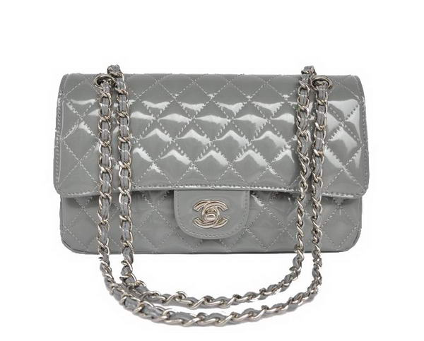 High Quality Knockoff Chanel 2.55 Series Grey Patent Leather Flap Bag Silver Hardware