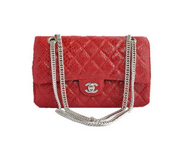 High Quality Knockoff Chanel 2.55 Series Red Snakeskin Leather Flap Bag Silver Hardware