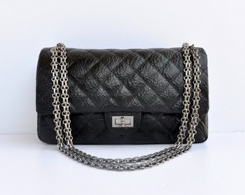 7A Fake Chanel 2.55 Flap Bag 30226 elephantskin black with silver chain