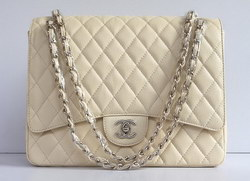 Cheap Replica Chanel Classic 2.55 Flap Bag Quilted Beige Caviar with Gold Chain