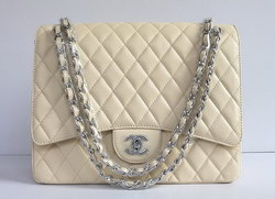Cheap Replica Chanel Classic 2.55 Flap Bag Quilted Beige Caviar with Silver Chain 1116