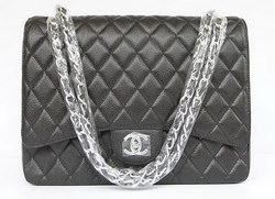Cheap Replica Chanel Classic 2.55 Flap Bag Quilted Black Caviar with Silver Chain 1116