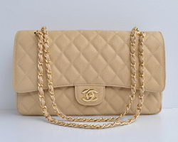 Cheap Replica Chanel Classic 2.55 Series Apricot Caviar Golden Chain Quilted Flap Bag 1113