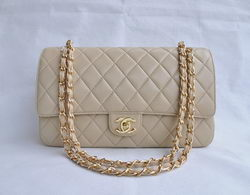 Cheap Replica Chanel Classic 2.55 Series Apricot Lambskin Golden Chain Quilted Flap Bag 1113