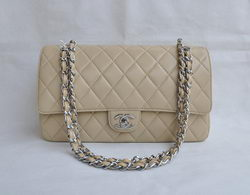 Cheap Replica Chanel Classic 2.55 Series Apricot Lambskin Silver Chain Quilted Flap Bag 1113