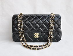 Cheap Replica Chanel Classic 2.55 Series Black Lambskin Golden Chain Quilted Flap Bag 1113