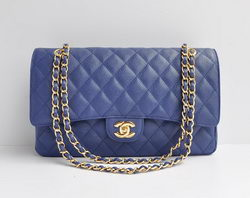 Cheap Replica Chanel Classic 2.55 Series Blue Caviar Golden Chain Quilted Flap Bag 1113