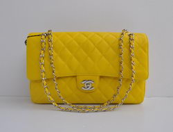 Cheap Replica Chanel Classic 2.55 Series Lemon Yellow Caviar Silver Chain Quilted Flap Bag 1113