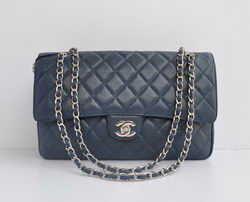 Cheap Replica Chanel Classic 2.55 Series Light Blue Caviar Silver Chain Quilted Flap Bag 1113