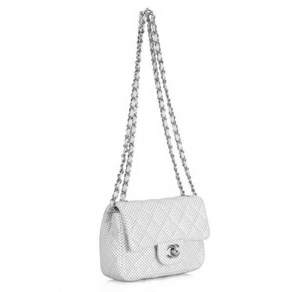 Replica Chanel 2.55 Classic Small Flap Bag 1116 White Leather Silver Hardware Outlet