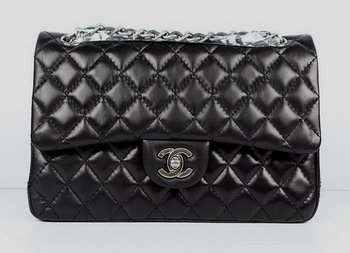 7A Fake Chanel 2.55 Quilted Flap Handbag A1112 Black with Silver Hardware