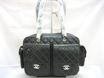 7A Discount Chanel Cambon Multipocket Lambskin Bag 25173 Black