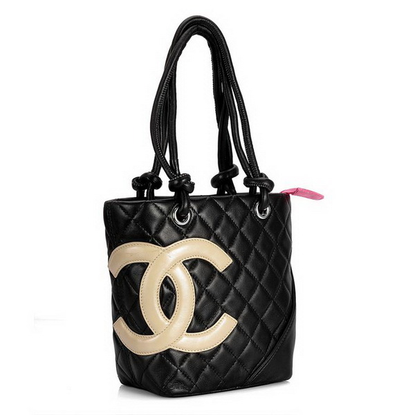 7A Discount Chanel Cambon Small Shoulder Bags 25166 Black-Apricot