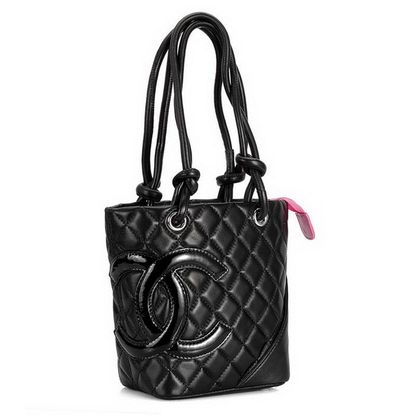 7A Discount Chanel Cambon Small Shoulder Bags 25166 Black-Patent