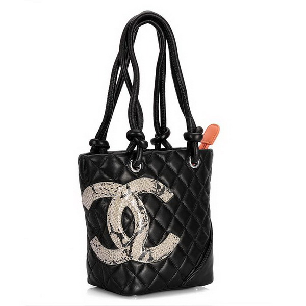 7A Discount Chanel Cambon Small Shoulder Bags 25166 Black-Snake