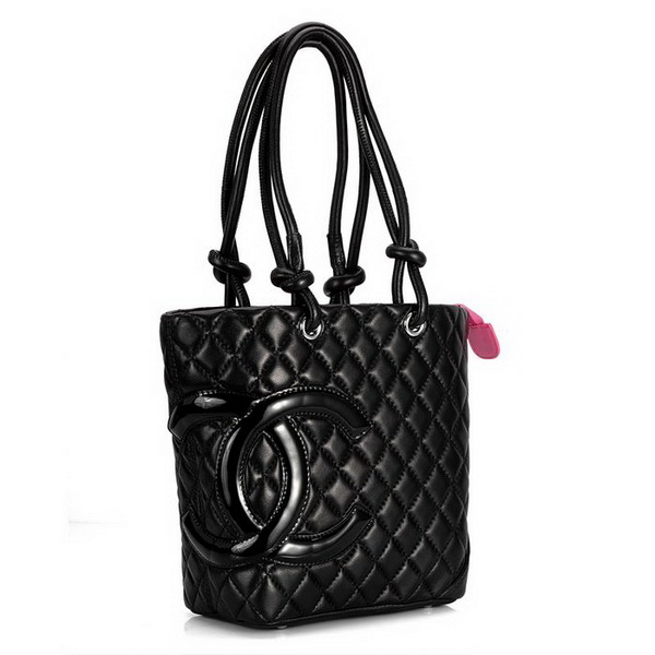 7A Discount Chanel Cambon Middle Shoulder Bags 25167 Black-Patent