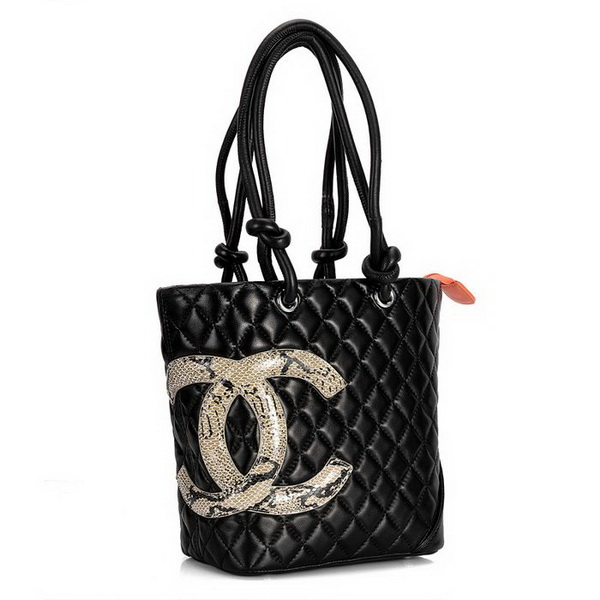 7A Discount Chanel Cambon Shoulder Bags 25167 Black-Snake Middle