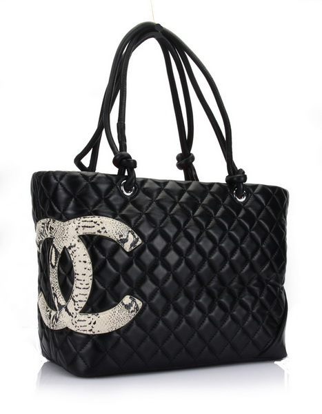 7A Discount Chanel Cambon Large Shoulder Bags 25169 Black-Snake