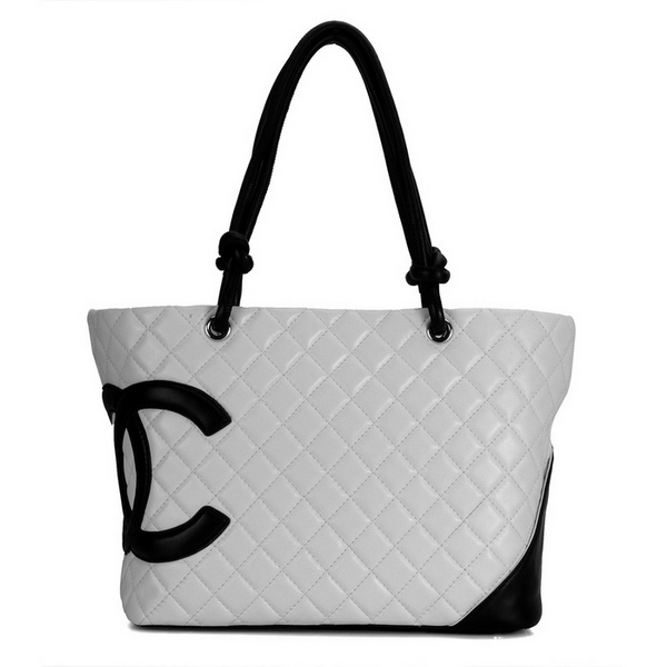 7A Discount Chanel Cambon Large Shoulder Bags 25169 White-Black