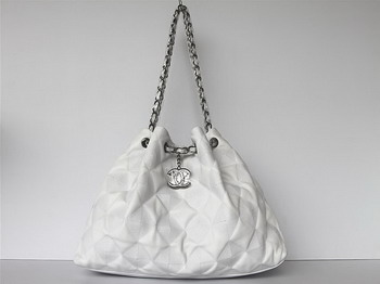 7A Discount Chanel Cambon Quilted Lambskin Shoulder Bag 46981 White