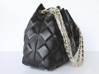 7A Discount Chanel Cambon Quilted Lambskin Shoulder Bags 46988 Black