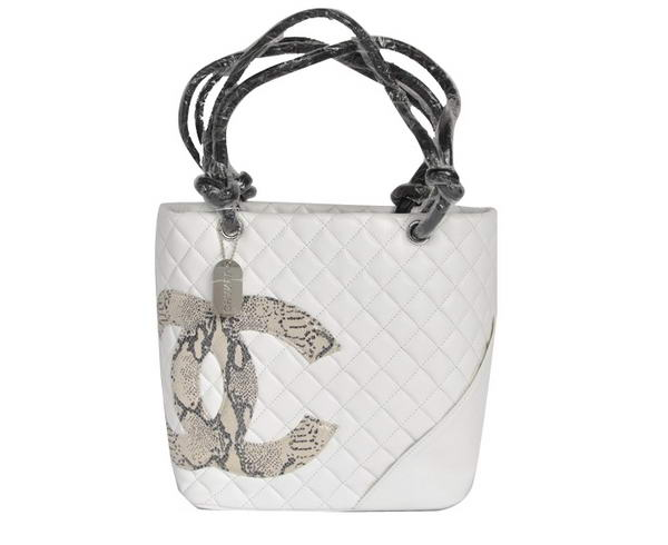 7A Discount Chanel Cambon Black CC Shoulder Bags A25168 White