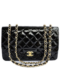 AAA Cheap Chanel Jumbo Flap Bags A28600 Black Patent Golden On Sale