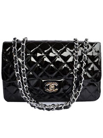 AAA Cheap Chanel Jumbo Flap Bags A28600 Black Patent Silver On Sale