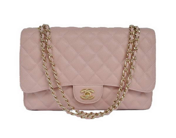 AAA Fashion Chanel A28601 Pink Grain Leather Jumbo Flap Bag Gold On Sale