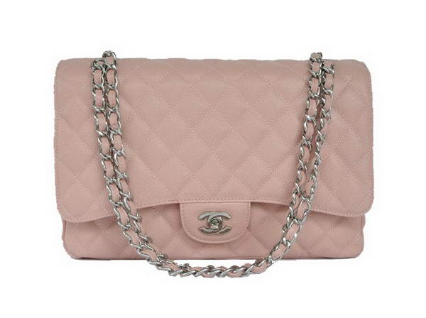 AAA Fashion Chanel A28601 Pink Grain Leather Jumbo Flap Bag Silver On Sale