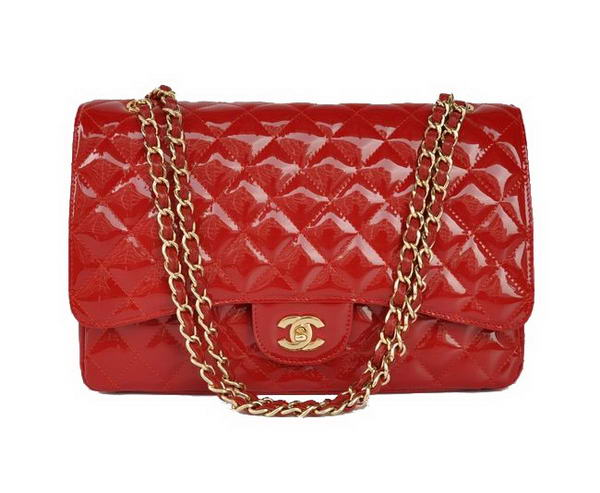 AAA Fashion Chanel A28601 Red Patent Leather Jumbo Flap Bag Gold On Sale