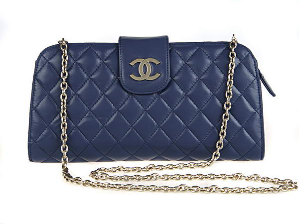 Fake Chanel A20163 Blue Lambskin Leather Cluth Bag On Sale