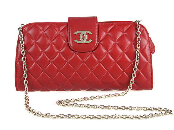 Fake Chanel A20163 Red Lambskin Leather Cluth Bag On Sale
