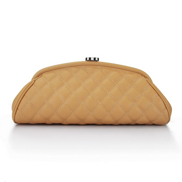 Fake Chanel Caviar Leather Mini Clutch Bags A35487 Apricot On Sale
