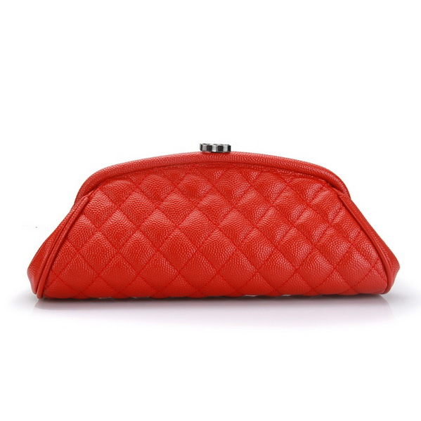 Fake Chanel Caviar Leather Mini Clutch Bags A35487 Red On Sale