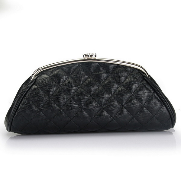 Fake Chanel Caviar Leather Coco Clutch Bags A35488 Black On Sale