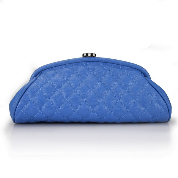 Fake Chanel Caviar Leather Coco Clutch Bags A35488 Blue On Sale