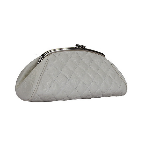 Fake Chanel Caviar Leather Coco Clutch Bags A35488 White On Sale