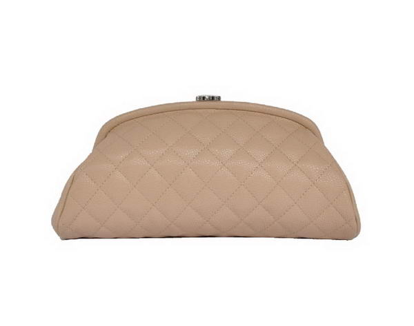 Fake Chanel Mini Clutch Bag Grain Leather A35487 Apricot On Sale
