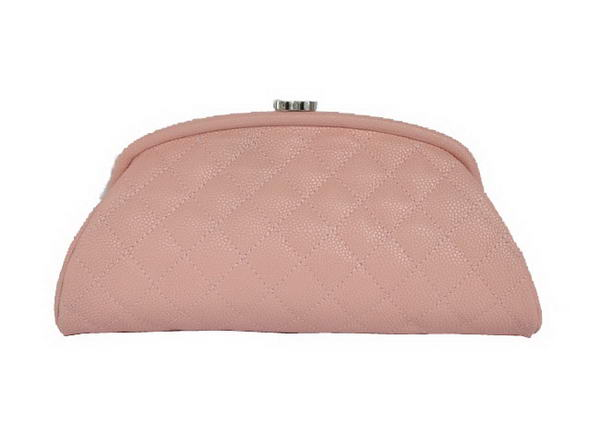 Fake Chanel Mini Clutch Bag Grain Leather A35487 Pink On Sale