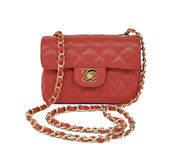 7A Replica Cheap Chanel Classic mini Flap Bag 1115 Red Leather Golden Hardware