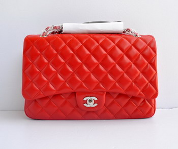 7A Replica Chanel Flap Maxi Lambskin Bag 28601 red wite silver chain