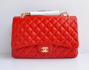 7A Replica Chanel Flap Maxi Lambskin Bag 28601 red wite gold chain