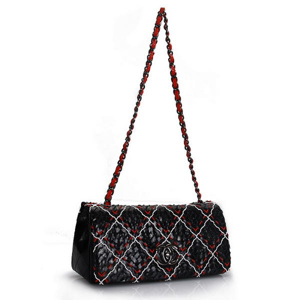 7A Replica Chanel Perforated Lambskin Flap Bags A50311 Black-Multi A50311