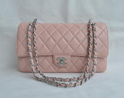 7A Replica Chanel Classic 2.55 Series Pink Lambskin Silver Chain Quilted Flap