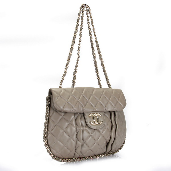 7A Replica Chanel Classic Flap Bag Gray Leather 3324
