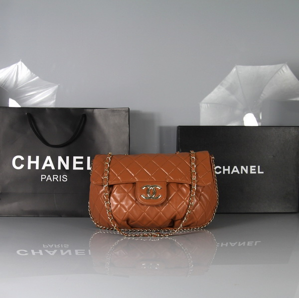 7A Replica Chanel Classic Flap Bag Orange Leather 3324